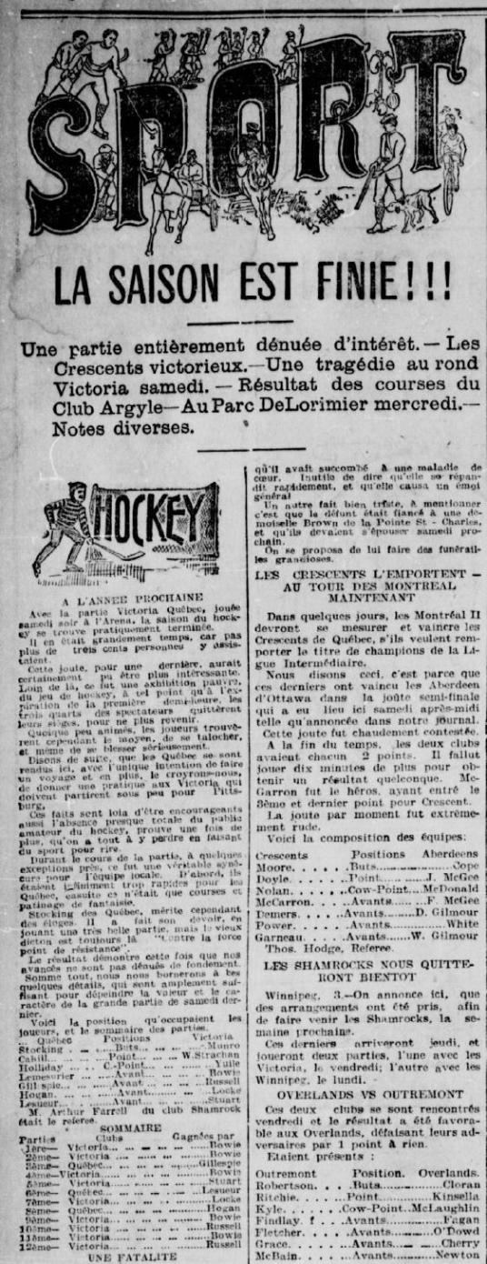 La Patrie, 4 mars 1901. Le texte qui nous intéresse est dans la colonne de gauche.