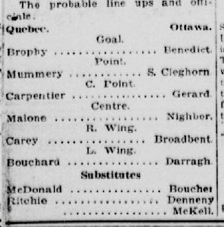 le 2 janvier 1920, le Quebec Chronicle va même prétendre qu'il sera de l'alignement partant. Une commande pour attirer les spectateurs ?