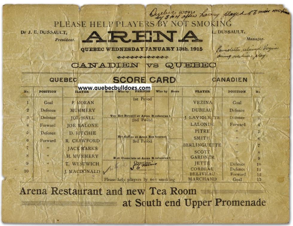 13 janvier 1915 Québec 4 Canadien 3 après 56 minutes de prolongation
