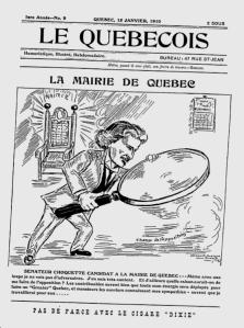 """15 janvier 1910, la candidature du Sénateur Choquette à la Mairie de Québec, tel qu'imagé par """"Le Québecois""""."""