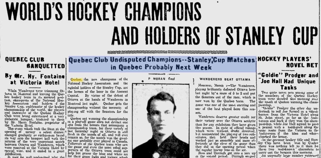 Daily Telegraph, 7 mars 1912. Déjà champions du monde avant la série contre Moncton. Notez la surprenante photo de Paddy Moran dans l'uniforme de Haileybury, son équipe d'un seul hiver (O.P.H.L., 1911).