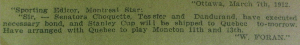 Montreal Star, 7 mars 1912.