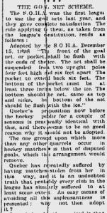 4 décembre 1899, une missive du Daily Telegraph de Québec en faveur du filet mêle tout le monde...