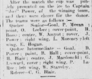 Quebec Chronicle, 30 janvier 1906. On y retrouve les noms des joueurs des deux équipes. L'arbitre C. Gordon Blair est le président du Club.