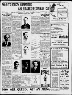 """""""Champions du monde et détenteur de la Coupe Stanley"""" Remarquez la note en bas de page: """"maintenant, Est-ce Québec aura un aréna ?"""" Quebec Daily Telegraph, 7 mars 1912."""