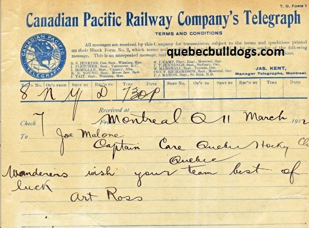 Télégramme de bonne chance d'Art Ross des Wanderers destiné à Joe Malone (Source : Collections Joe Malone jr.)