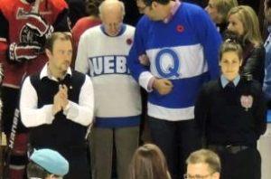 Joe Malone et moi, avant les cérémonies d'avant-match des Remparts de Québec.