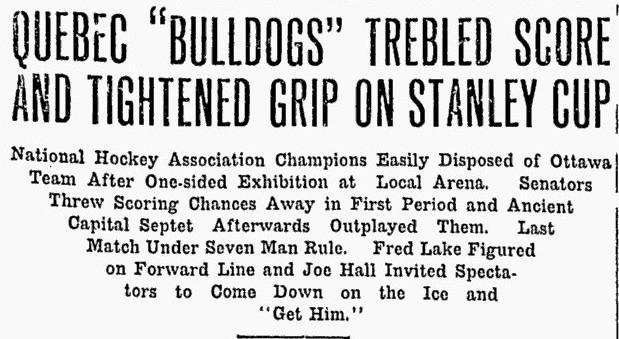 Il y a 100 ans: Québec gagnait sa dernière Coupe Stanley. (4/6)