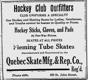 Publicité du 15 février 1917. Didier Pitre et plusieurs joueurs professionnels patinent sur ses lames.