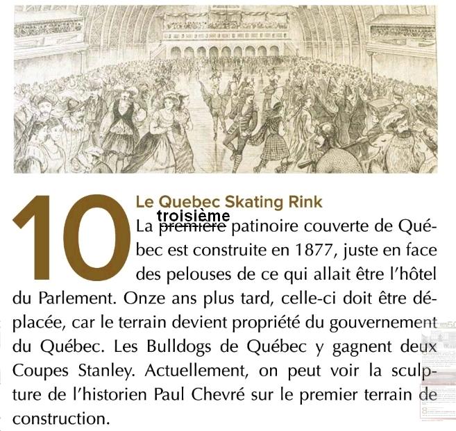 Le skating rink de 1877: Le troisième à Québec, pas le premier.