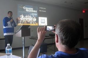 Conférence sur l'histoire des Bulldogs de Québec lors de la convention 2014 de la SIRH. Photo: Benoit Clairoux.