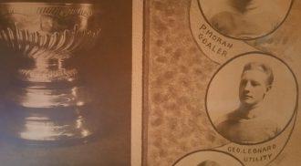 George Leonard, portant le chandail de l'édition 1912, gagnante de la Coupe Stanley.