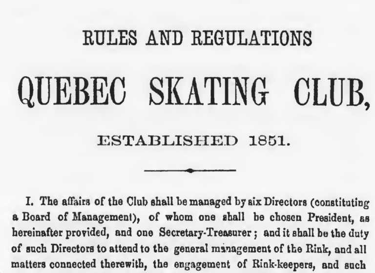 QUEBEC SKATING CLUB RULES AND REGULATIONS 1869